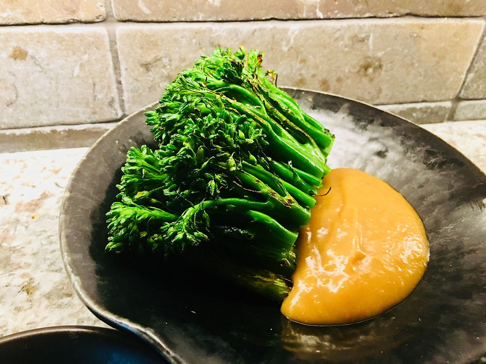 Tender stem broccolini w moromi miso & ginger dressing