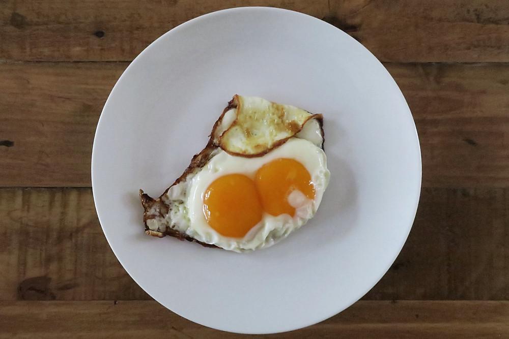 double yolk fried eggs
