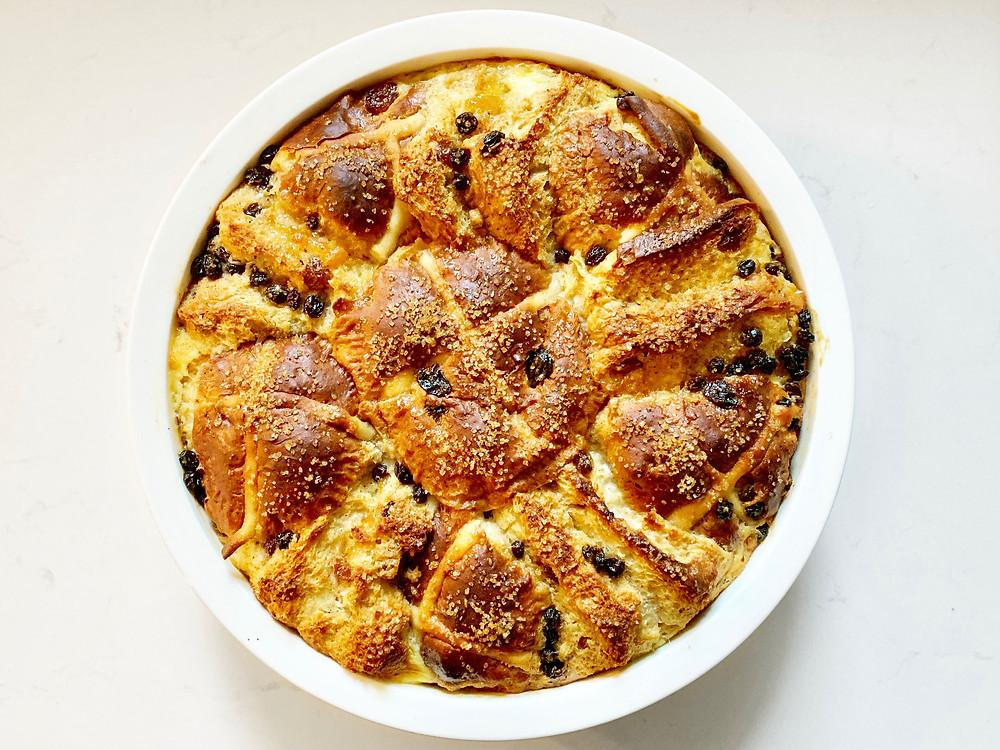 Hot cross bun and butter pudding