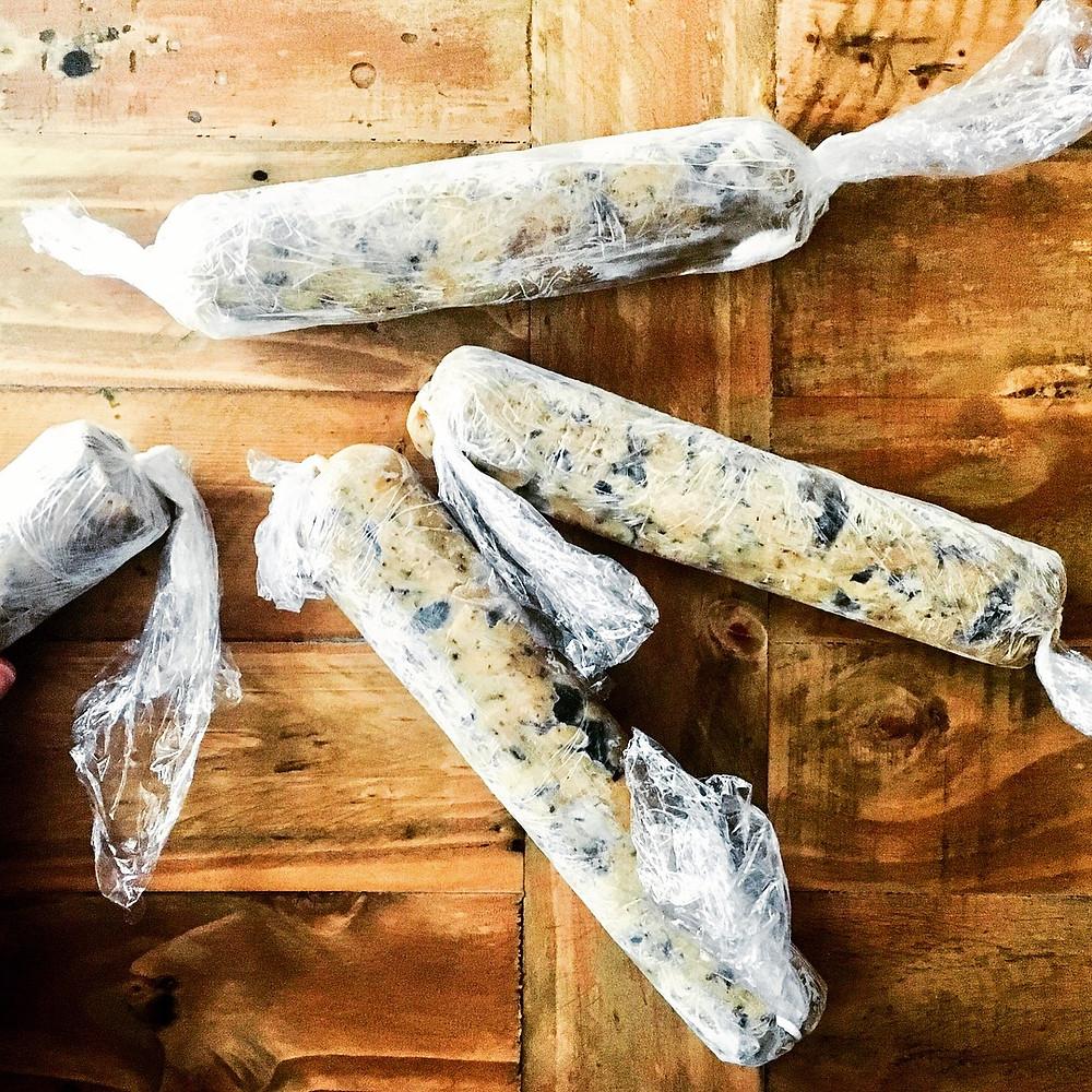 Cookie dough in rolls for freezer