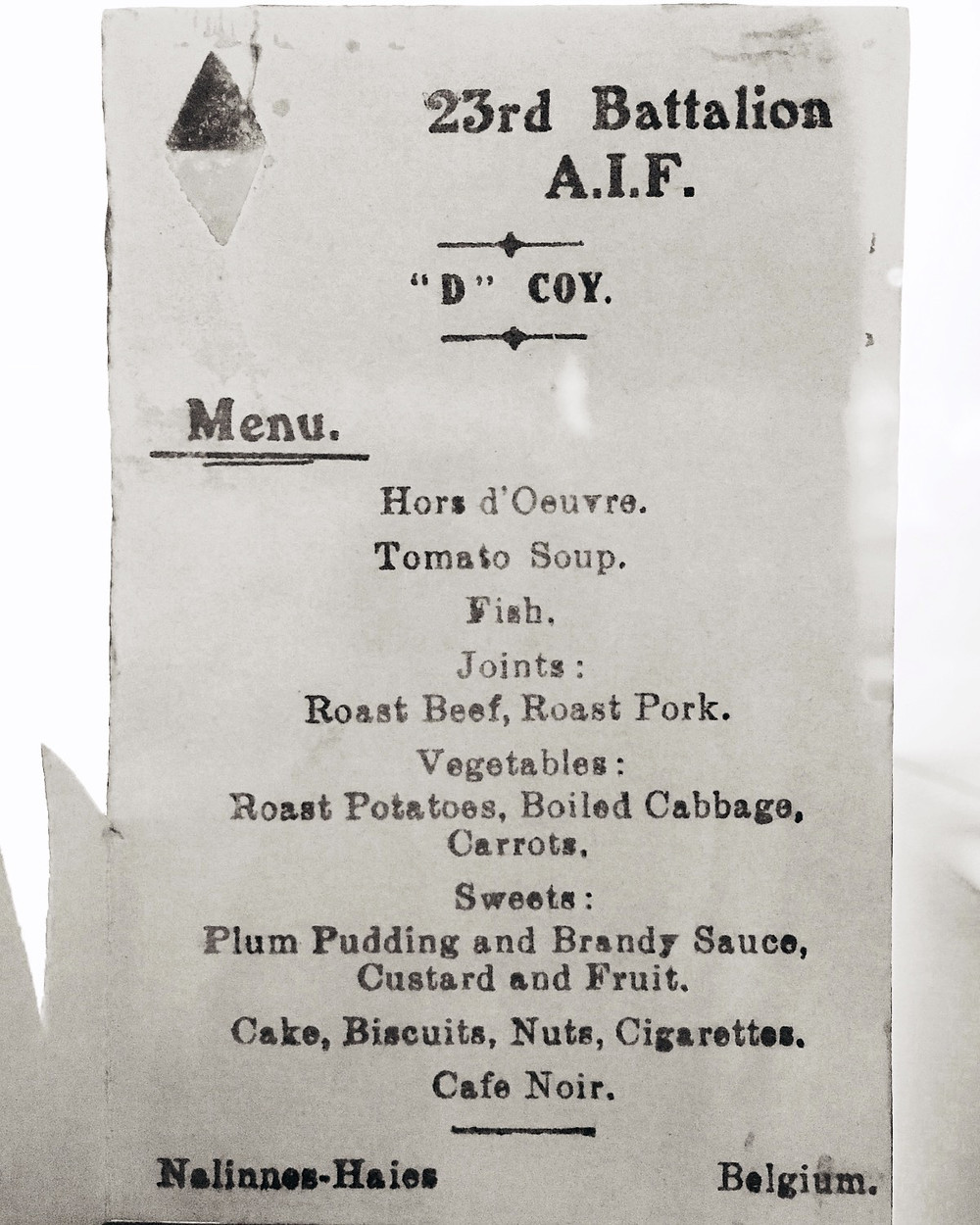 23rd Battalion AIF 1918 Christmas function menu