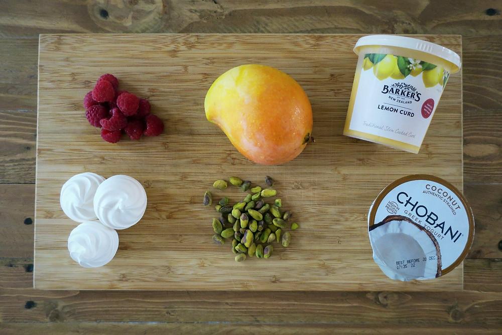 Store bought ingredients for Mango, Raspberry and Pistachio Eton Mess