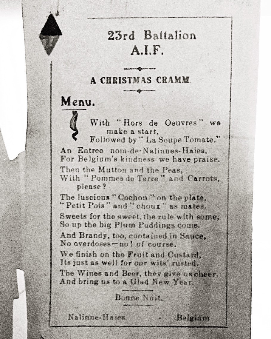 23rd Battalion AIF 1918 Christmas function menu poem