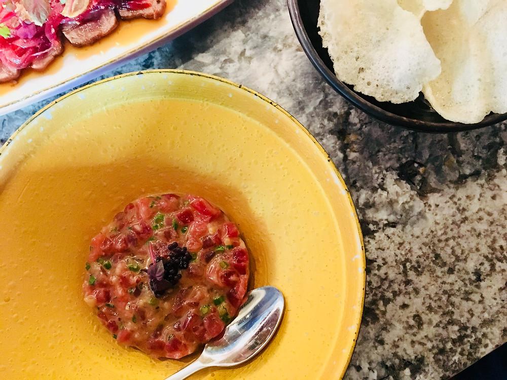 SA albacore tuna tartar, wasabi miso w crispy rice crackers