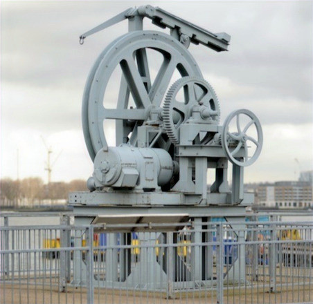 Industrial landmark:Cable loading gear - evidence of former Submarine cable factory