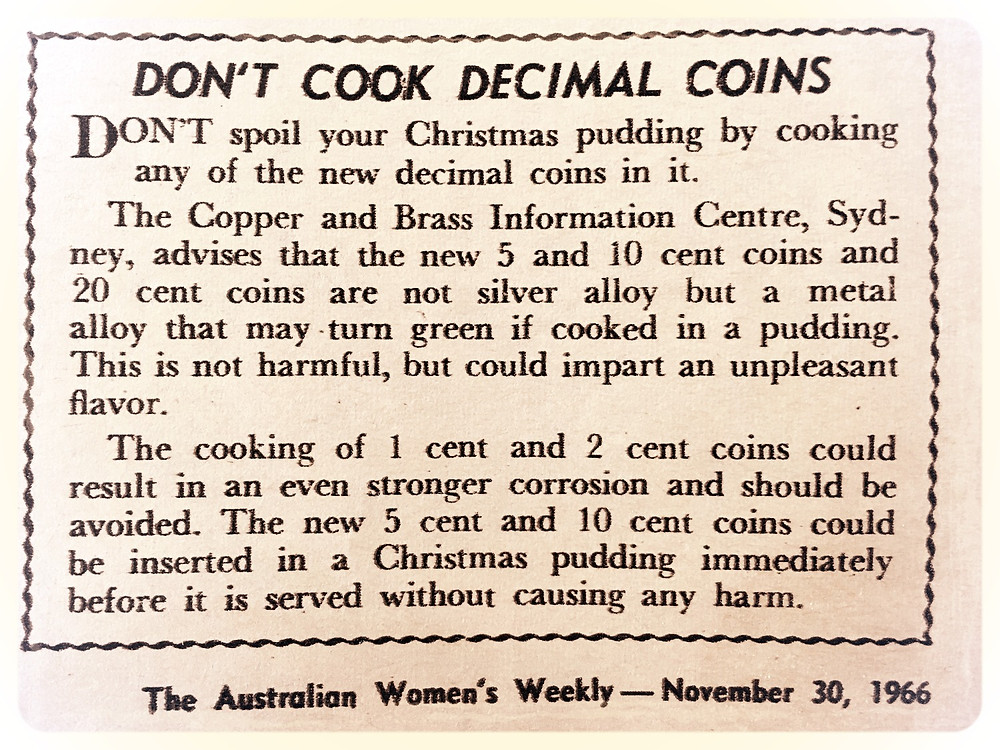 'Don't cook decimal coins' in your pudding - food warning from The Australian Women's Weekly 1966