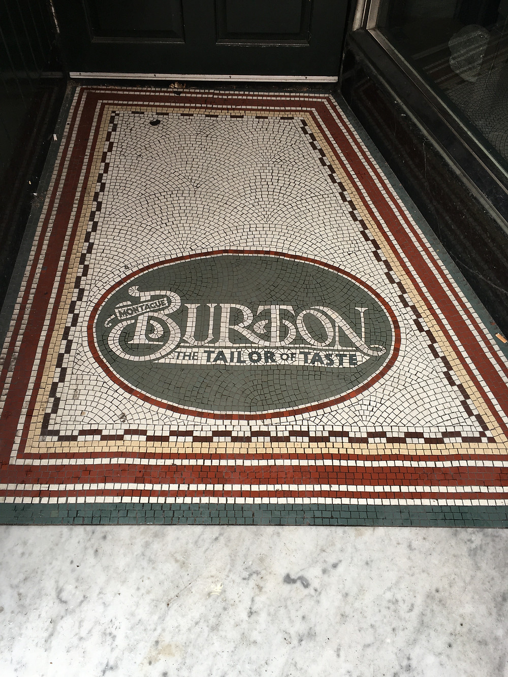 "Mosaic ""logo"" from Burtons store in Greenwich"