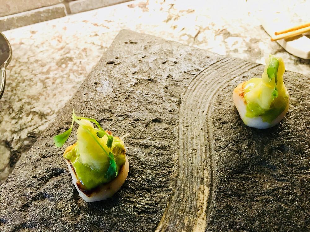Canadian scallops, jalapeño, green apple x garlic mayonnaise
