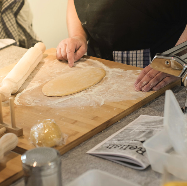 Rolling dough at Relish cooking school