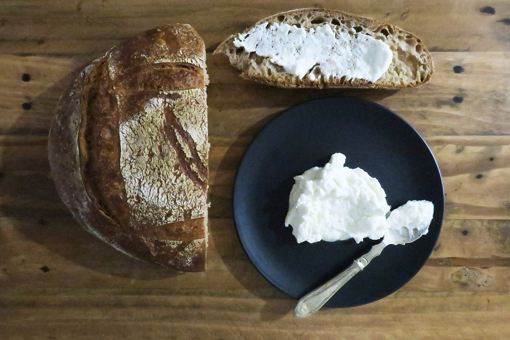 Black Cockatoo's spelt loaf and Jannei's fresh goats curd