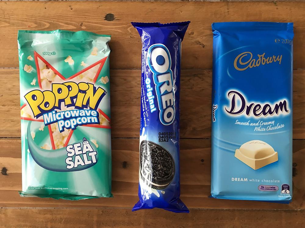 Popcorn, oreo and white chocolate