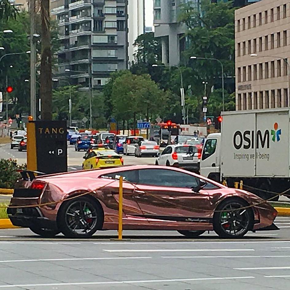 Salmon colouredmirrored Lamborghini