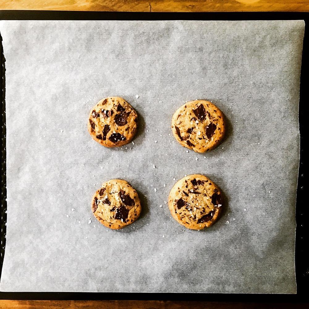 Salted Chocolate chip and tahini cookies