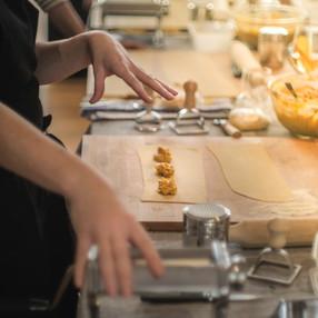 Making home made ravioli at Relish Cooking School