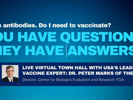 Virtual Town Hall With USA's Leading Vaccine Expert: Dr. Peter Marks Of The FDA