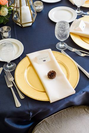 Ivory and navy blue linens