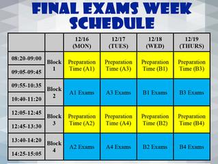 2019-2020 1st Semester Final Exams Schedule