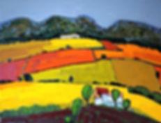 tableau petit mas provence champs colorés