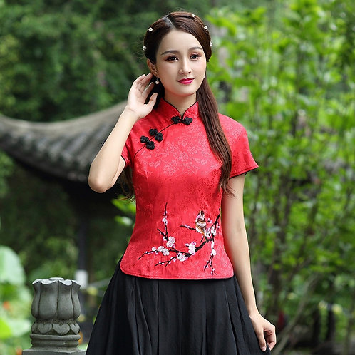 Traditional Chinese Clothing for Women Chinese Style Tops Short Sleeve