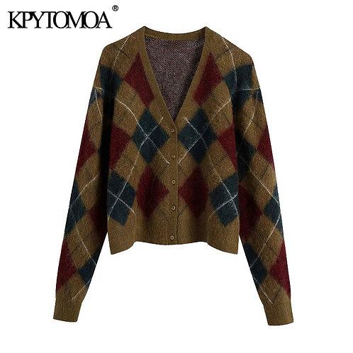 KPYTOMOA Women 2020 Fashion With Ribbed Trims Argyle Cardigan Sweater