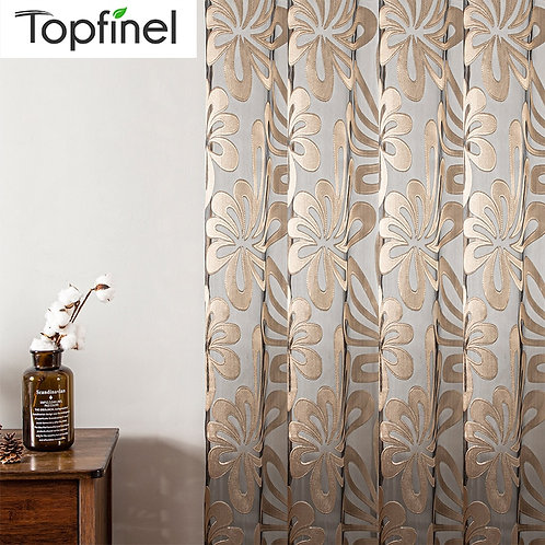 Sheer Curtains Geometric Window Tulle Curtains Jacquard Curtains