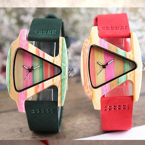 Unique Wood Watch Creative Triangle Shape Women Quartz Leather Bracelet