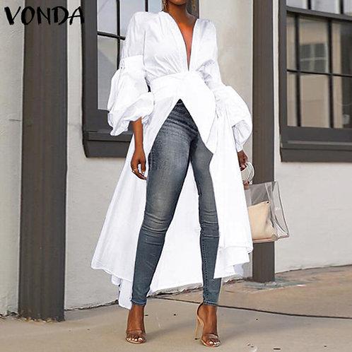 2021 VONDA Women Autumn Long Sleeve Fashion Long Shirt Blouses