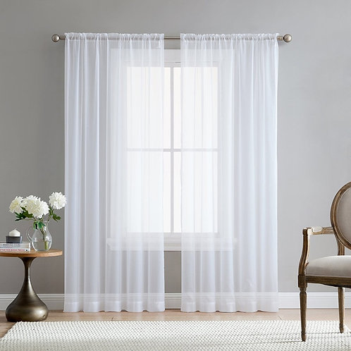Europe Solid White Sheer Curtains for Kitchen Window Tulle Curtain