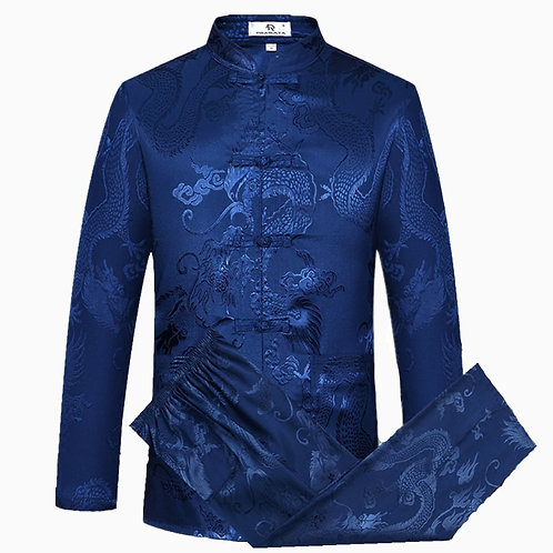 Blue Chinese Traditional Men's Long Sleeve Long Pants High Quality Silk Wu Shu