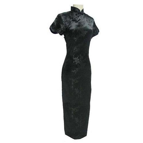 Black Chinese Traditional Dress Sexy Women Satin Qipao