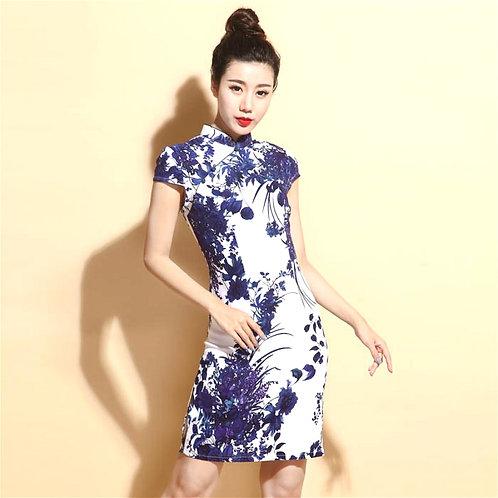 China Dresses Qipao Cheongsam Cotton Linen Plus Size for Women Short