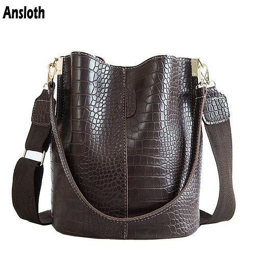 Ansloth Crocodile Crossbody Bag for Women Bags Luxury PU Leather Bag