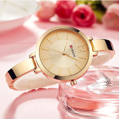 CURREN Fashion Gold Women Watches 9012 Stainless Steel Ultra Thin Quartz