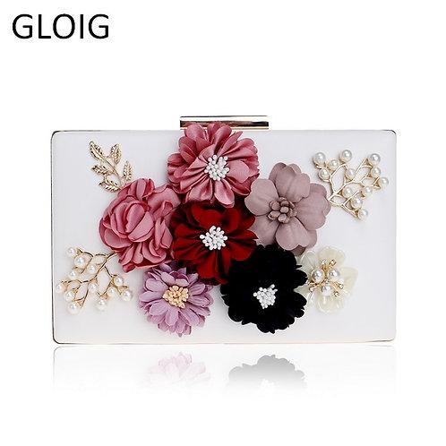 Pu Women Bag Flower Beaded Lady Clutch Bag