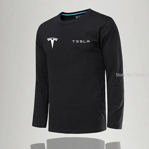 New Fashion O-Neck Solid Men Tesla T-Shirt Casual Long Sleeve