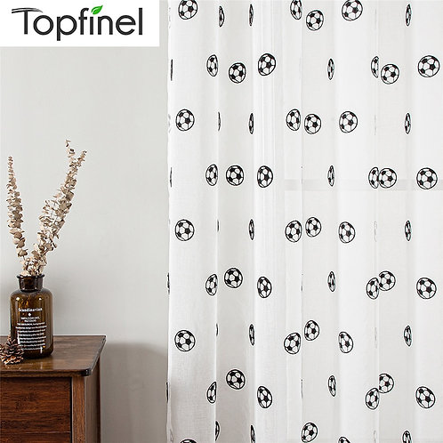 Topfinel Sheer Curtains Embroidered Football Tulle for Children Boys  Curtain