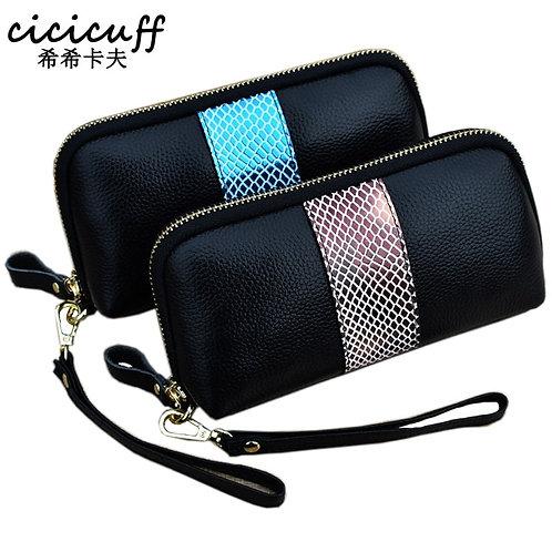 Ladies Genuine Leather Clutch Purses Zipper Wrist Bag Female