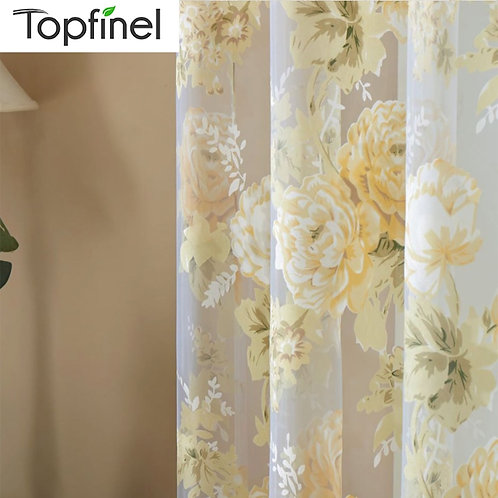 Topfinel Rose Floral Sheer Curtains for Window Room Curtains