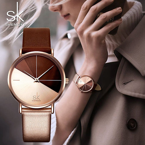 SK Luxury Leather Watches Women Creative Fashion Quartz