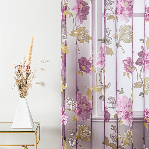Tulle  Floral  Curtain for Living Room Bedroom Purple Curtains