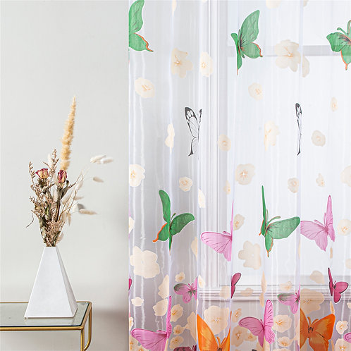 Topfinel Colorful Butterfly Tulle on Windows Voile Sheer Curtains for  Window