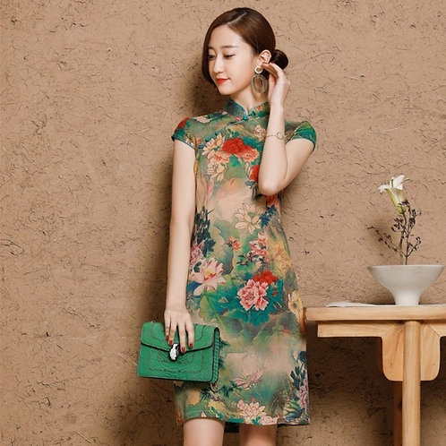 Women's Cotton Oriental Style Dresses Printing Elastic Qipao New Short Cheongsam