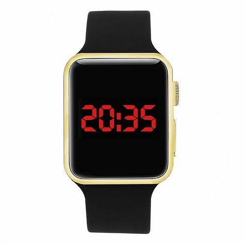Student Watch Square Mirror Face Silicone Band Digital Watch