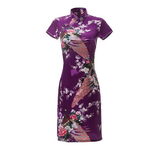 Sexy Slim Summer Ladies Short Cheongsam  Chinese Style Dress Rayon  Qipao
