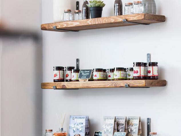 Cafe display shelves