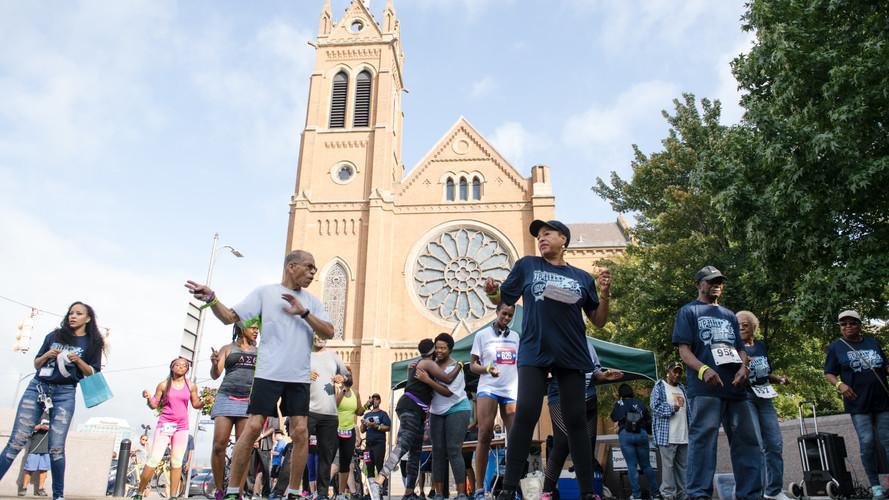 Uphill 5K -- post-race -- line dancing.j