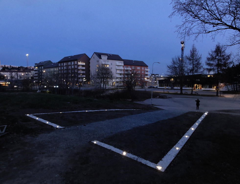 Night view of the intervention