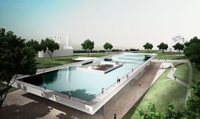 Top water mirror memorial in summer