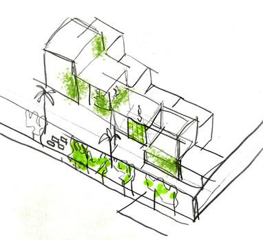 Green cascading concept sketch