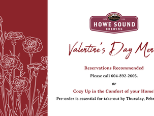 3 course Valentine's Day Menu, available for dine-in or takeout at the Brewpub!